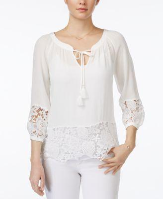 Juniors' Lace-Trim Peasant Top