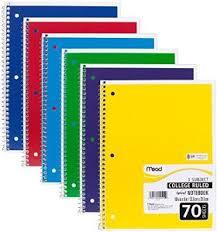 Roll over image to zoom in 6 PACK:Mead Spiral Notebook, College Ruled, 1 Subject, (05512